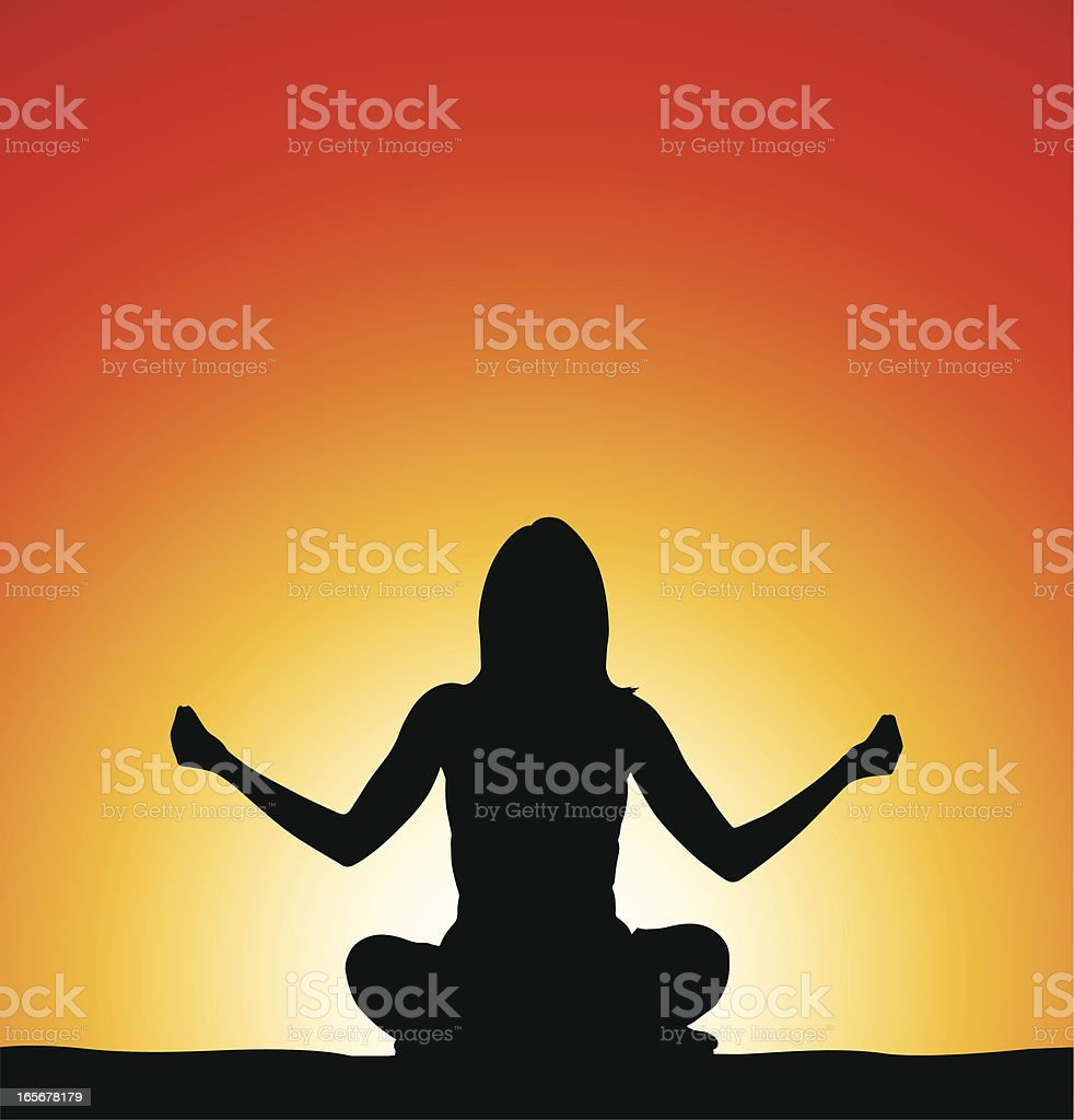 Woman doing yoga in front of sunrise royalty-free stock vector art
