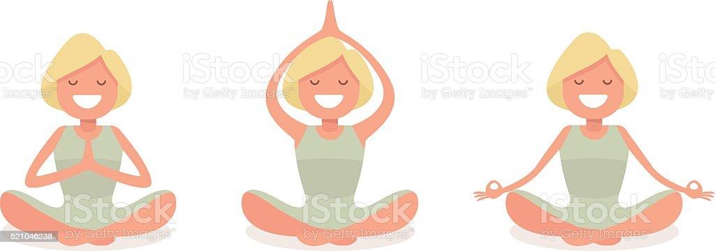 woman doing yoga Set of three yoga poses vector art illustration