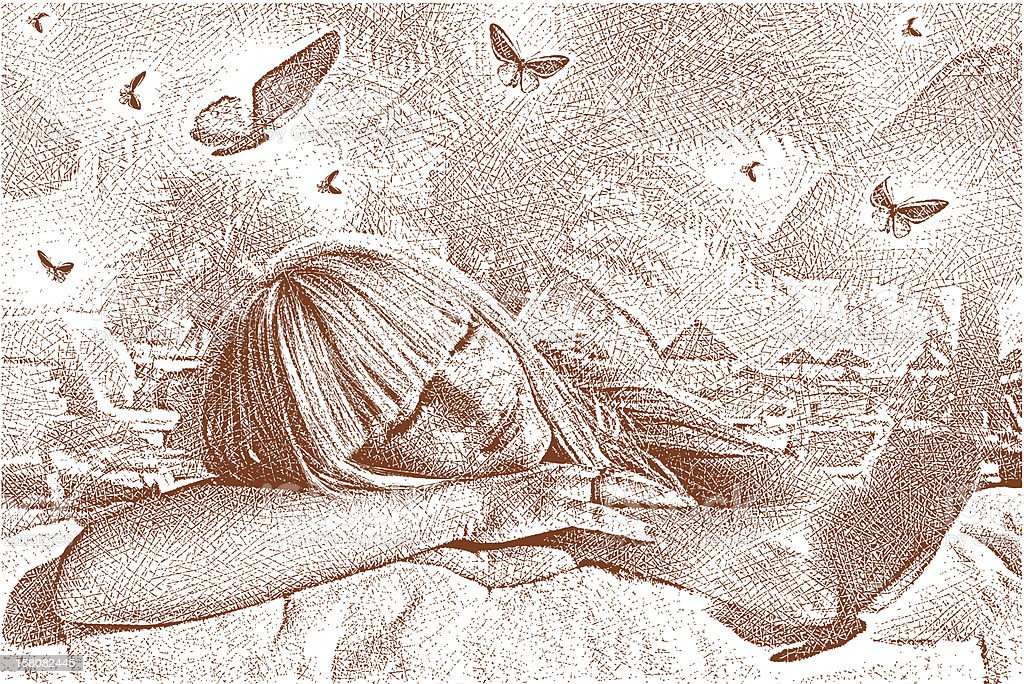 Woman Dreaming and Butterflies vector art illustration