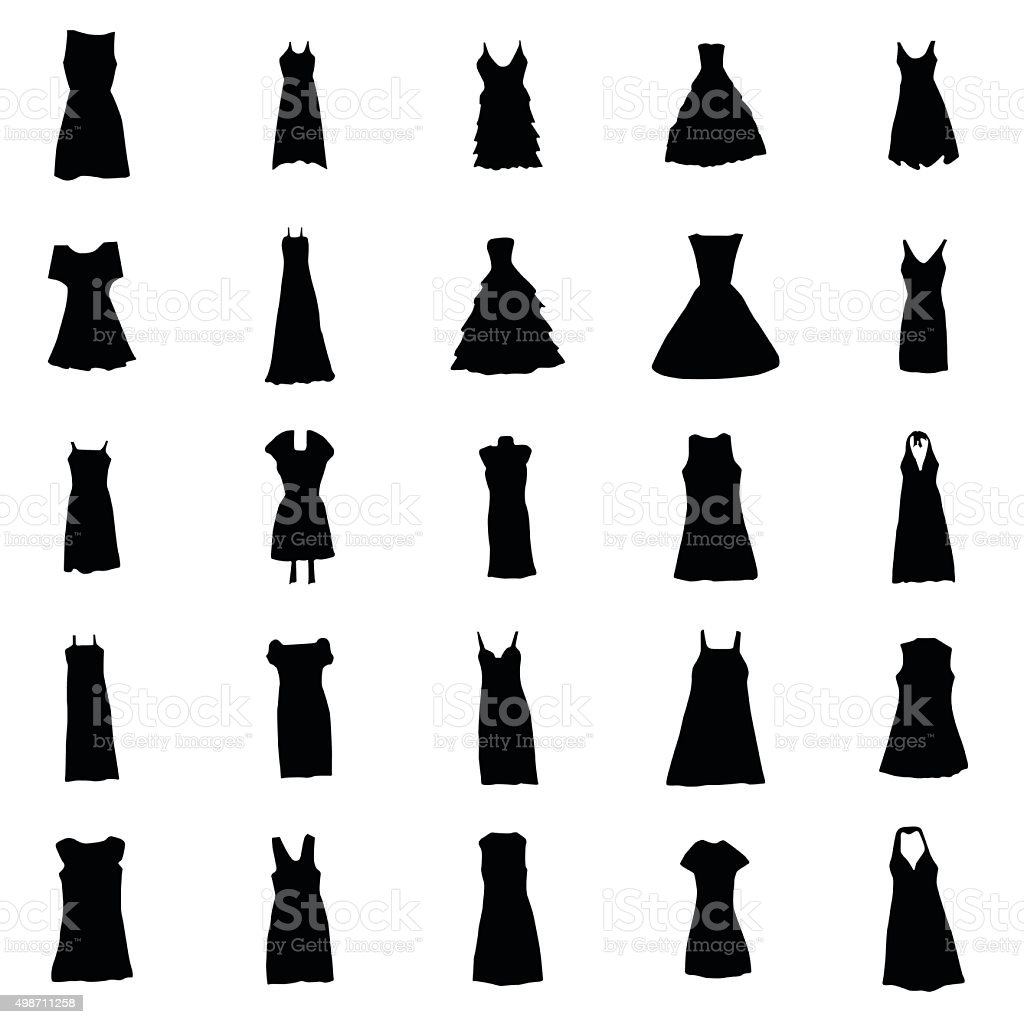 Woman dresses silhouettes set vector art illustration