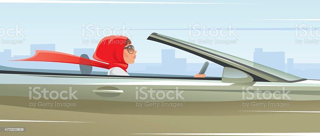 Woman driving car royalty-free stock vector art
