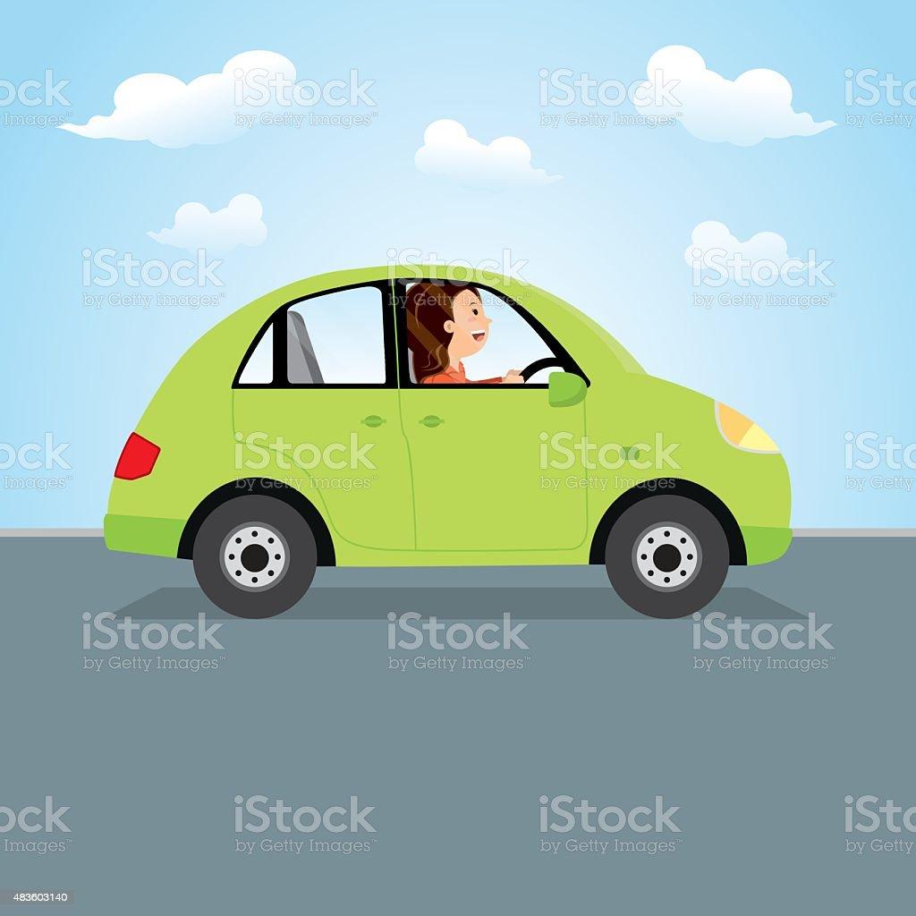 Woman driving green car vector art illustration