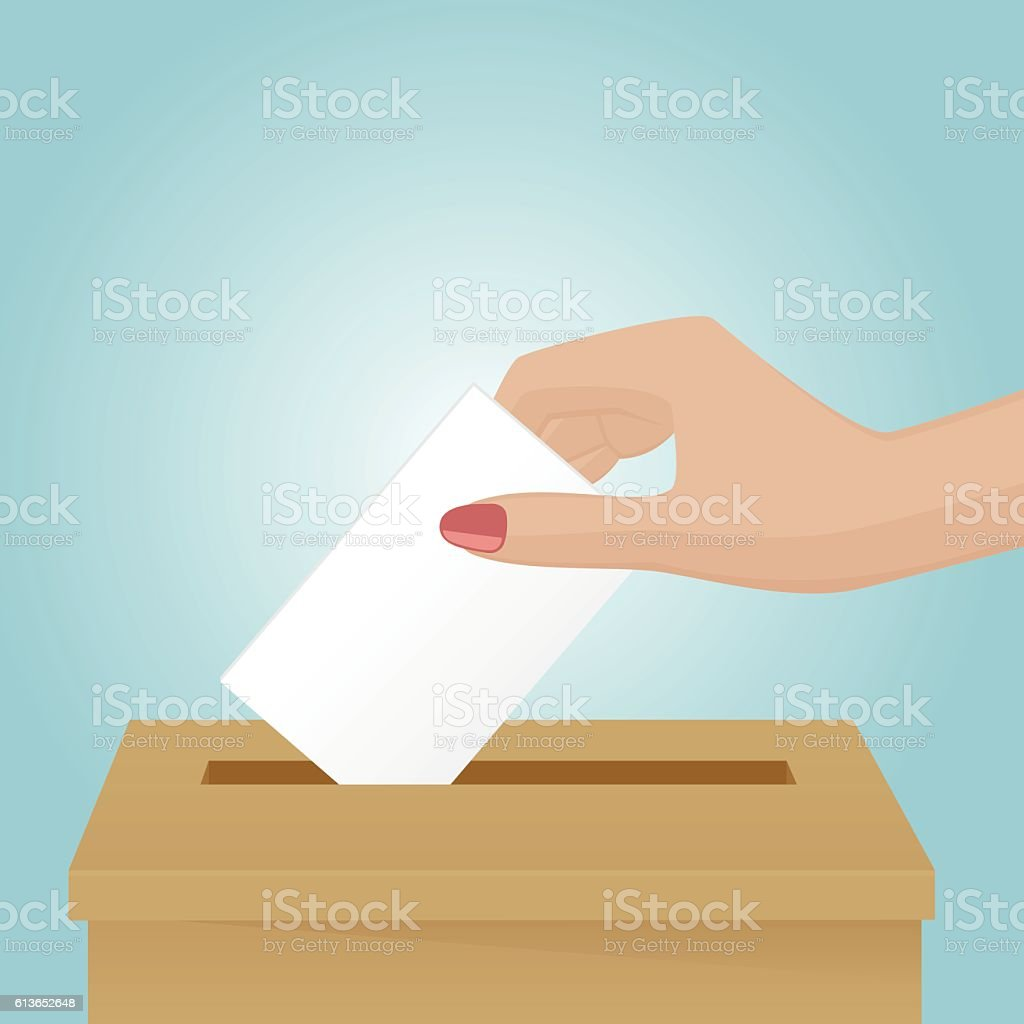 Woman drop a voting paper in the box vector art illustration