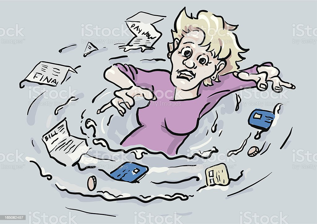 Woman drowning in a sea of debt royalty-free stock vector art