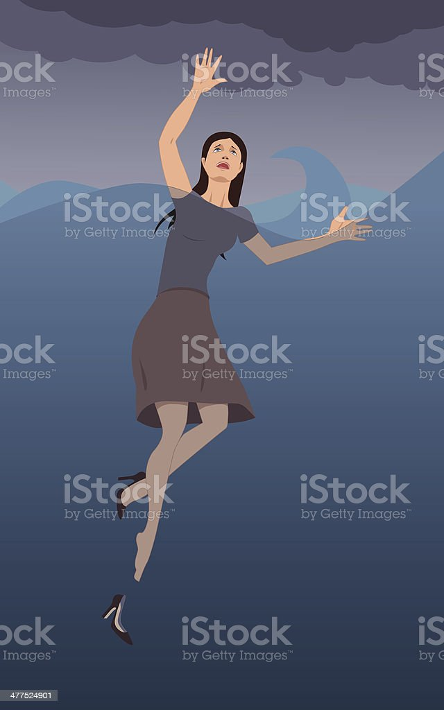 Woman drowning vector art illustration