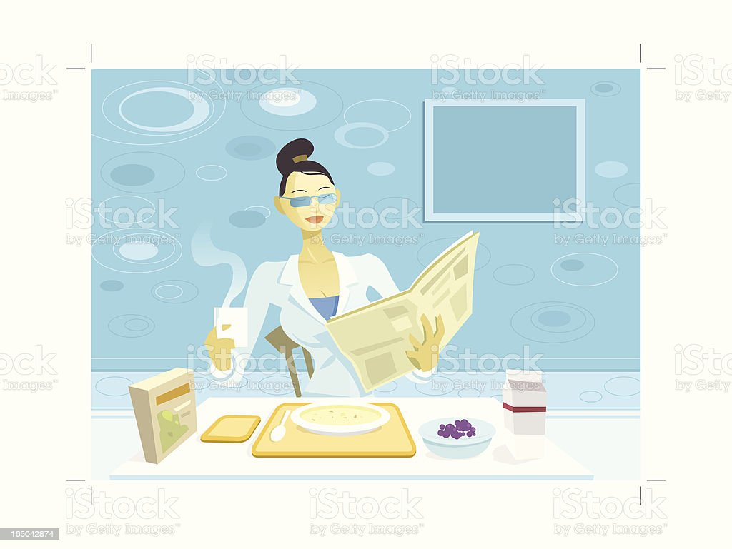 Woman Eating Breakfast royalty-free stock vector art