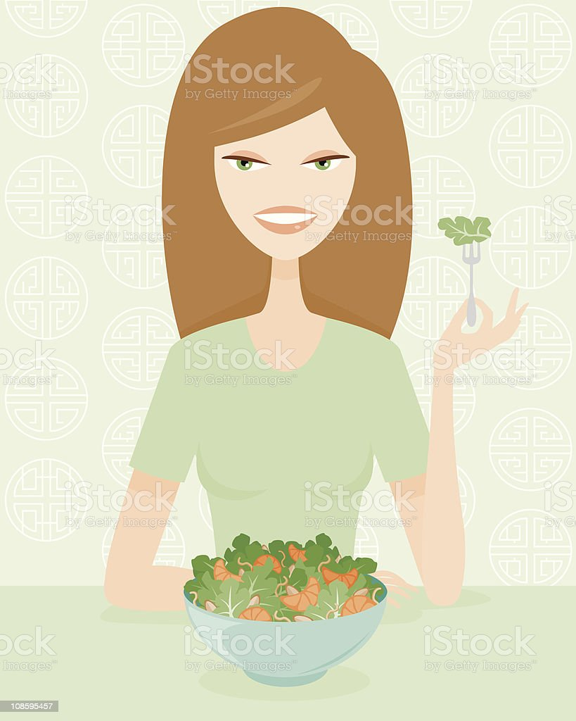 Woman Eating Healthily royalty-free stock vector art