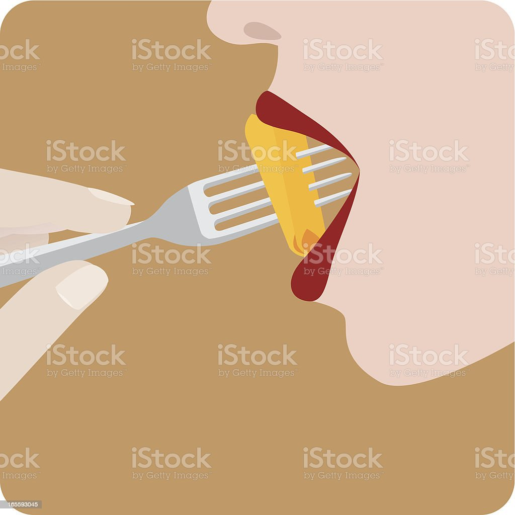 Woman eating pasta royalty-free stock vector art