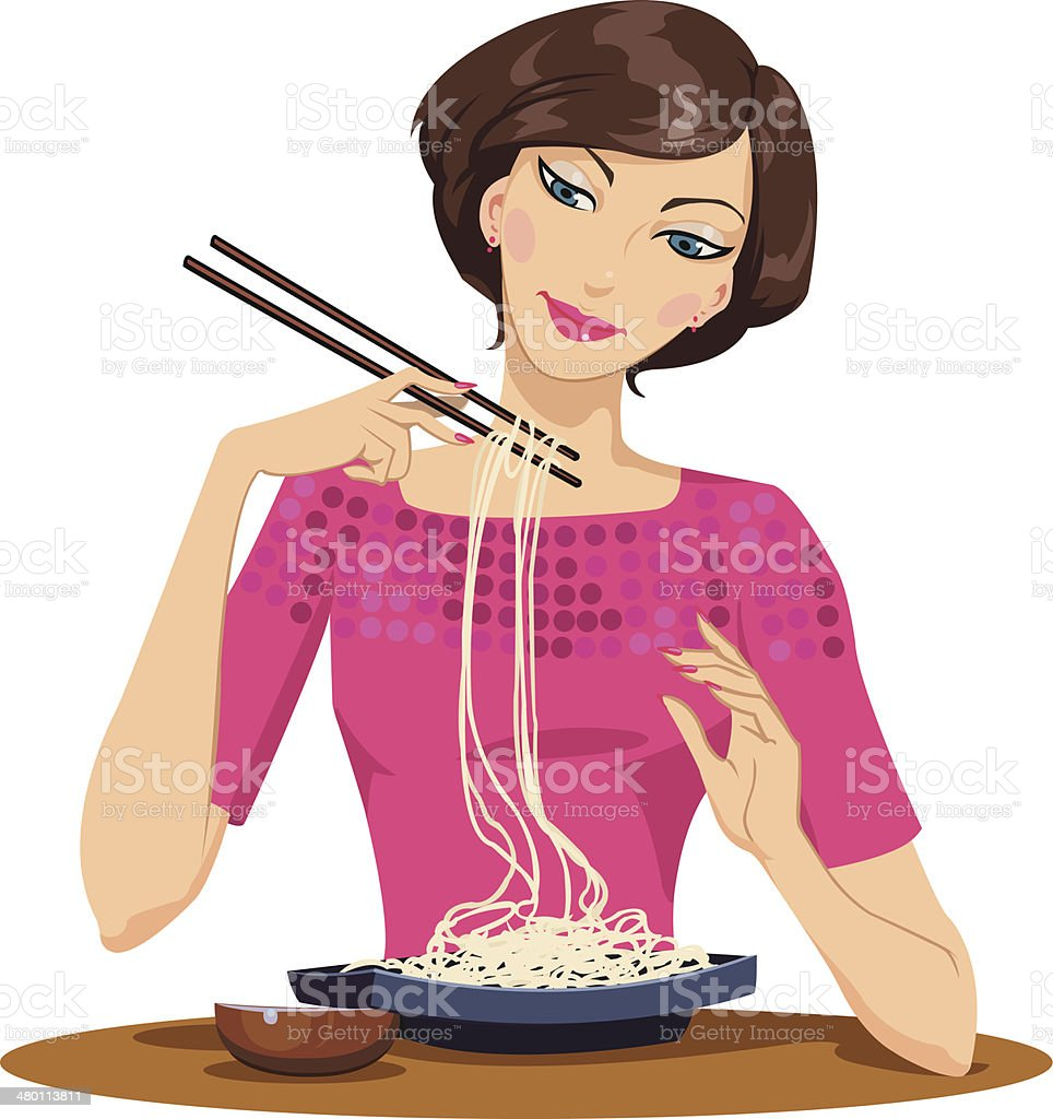 Woman eating pasta royalty-free stock vector art