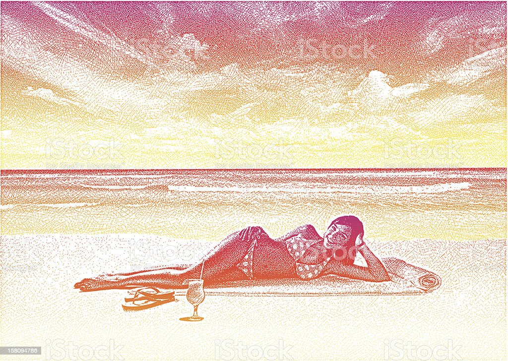 Woman Enjoying Beach vector art illustration