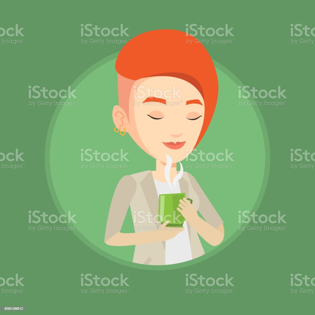 Woman enjoying cup of coffee vector illustration vector art illustration