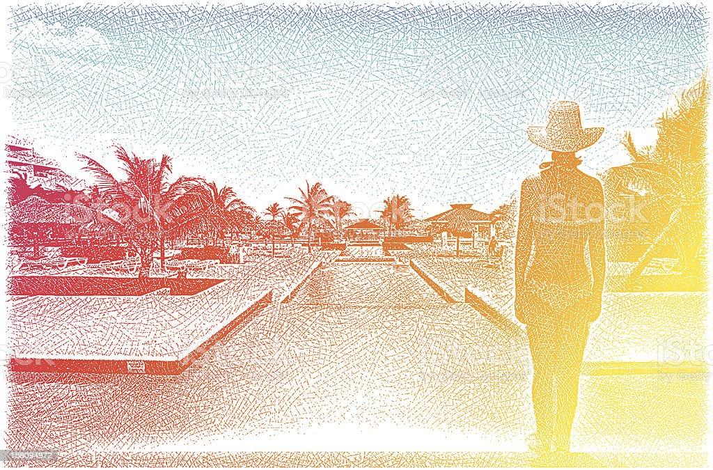 Woman Enjoying Luxury, Tropical Resort Spa vector art illustration
