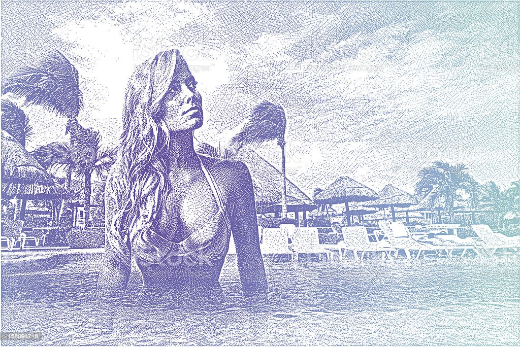 Woman Enjoying Resort Infinity Pool royalty-free stock vector art