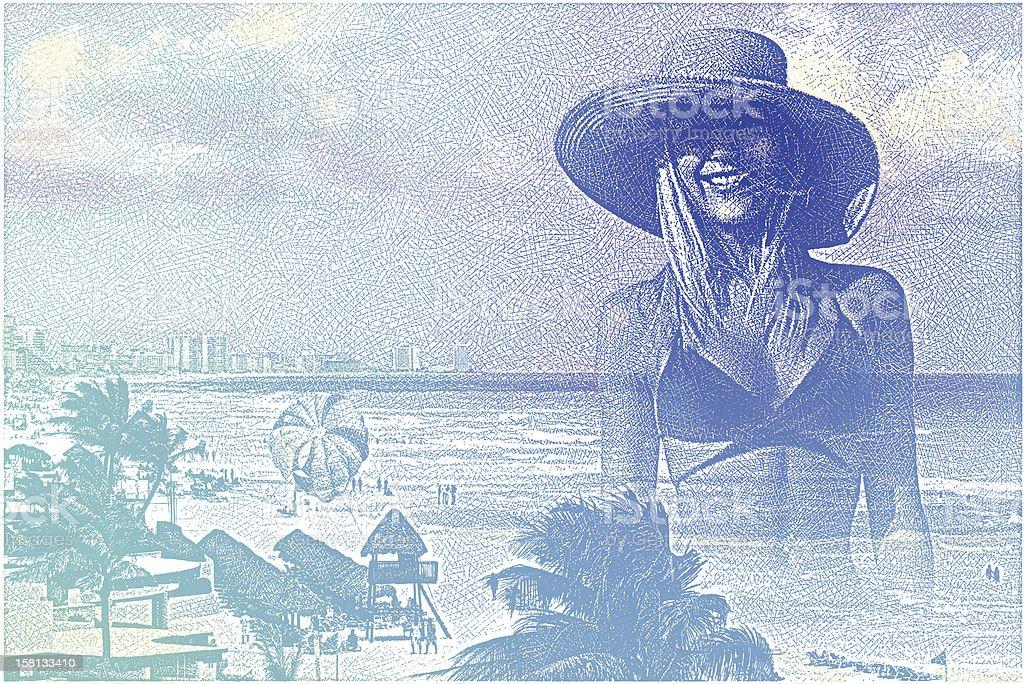Woman Enjoying Tropical Resort vector art illustration
