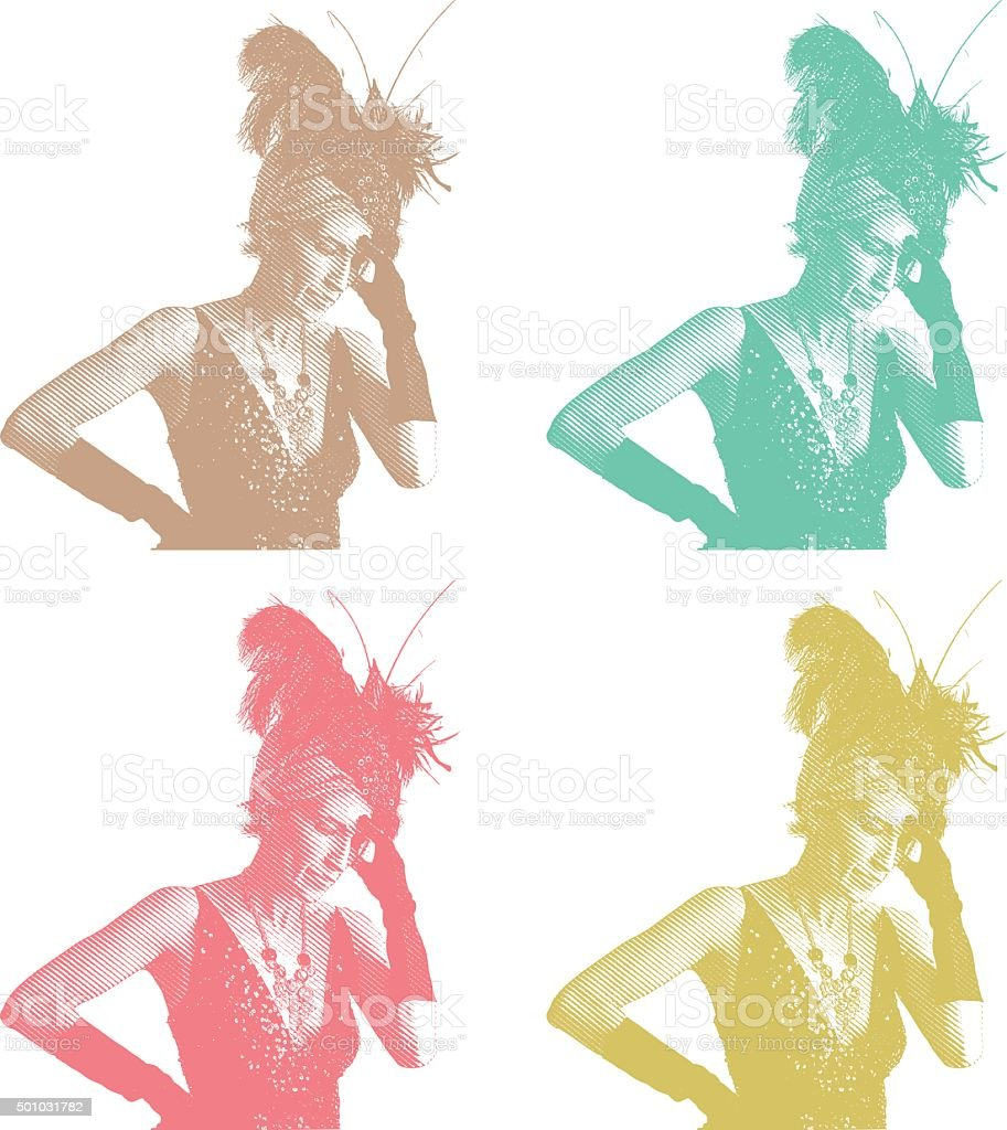 Woman Entertainer Suffering from Migraine Headache and Stress vector art illustration