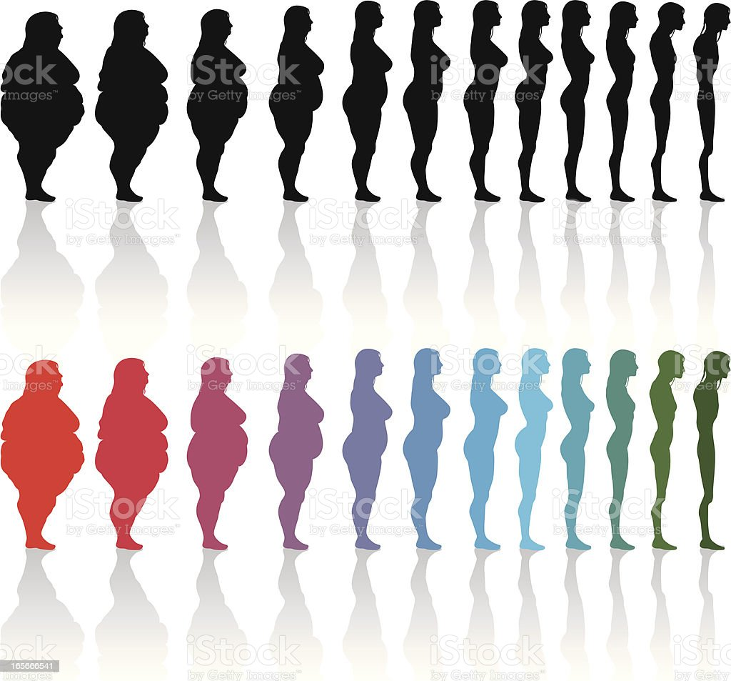 Woman excess fat and thin vector art illustration