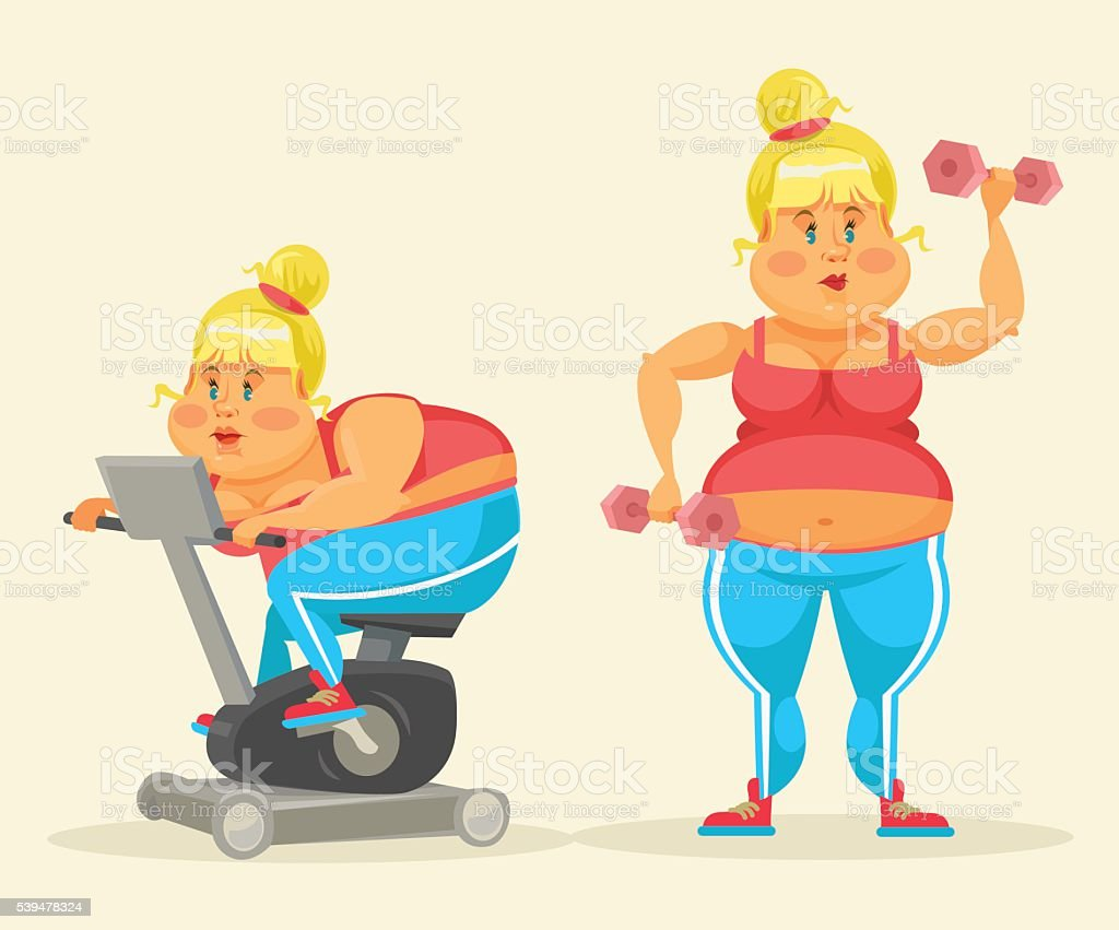 Woman exercising. Fat woman in gym. Fat woman do sport vector art illustration