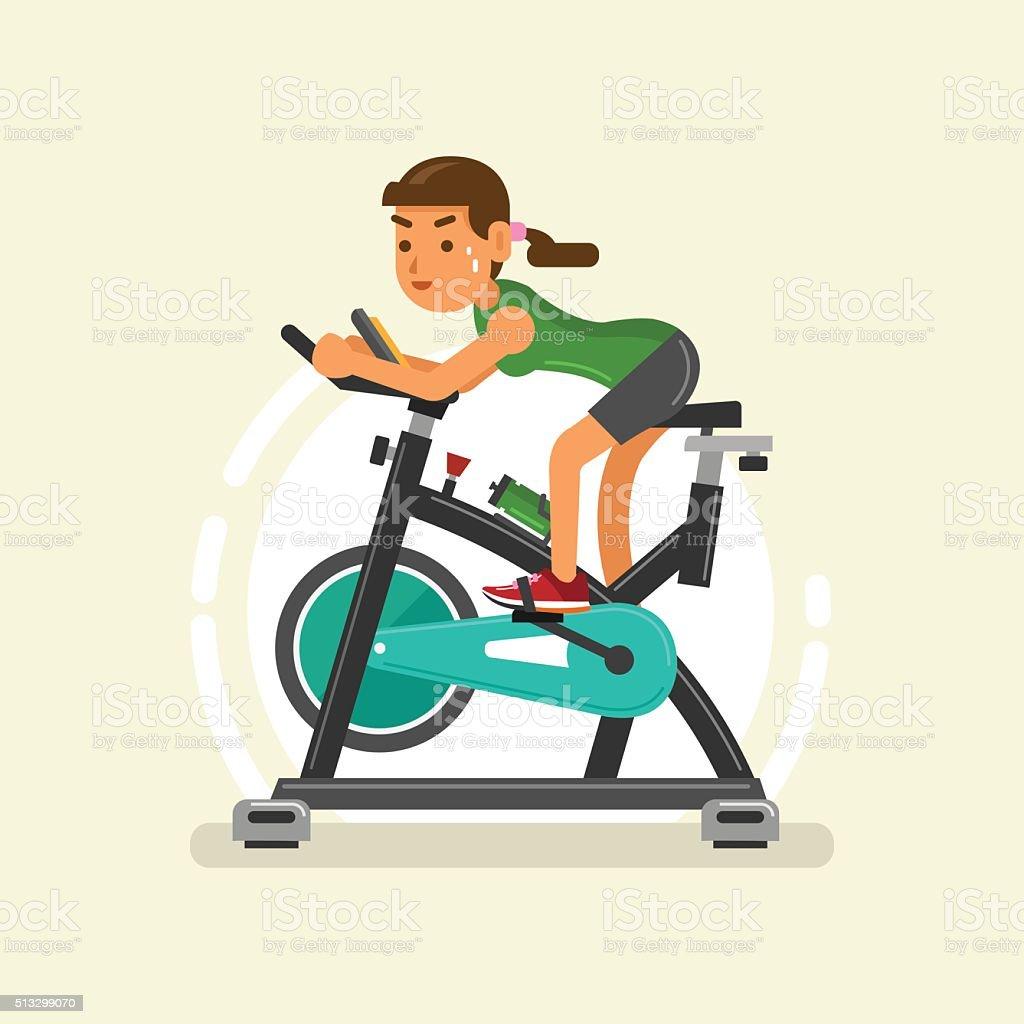 woman exercising on stationary bike vector art illustration