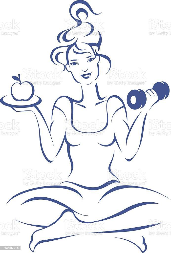 Woman exercising. vector art illustration
