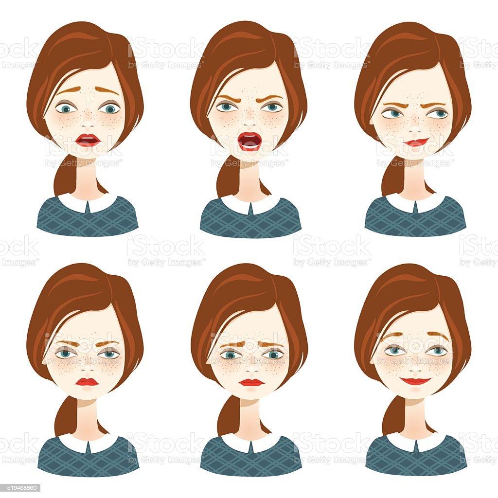 Woman expression set - Illustration vector art illustration