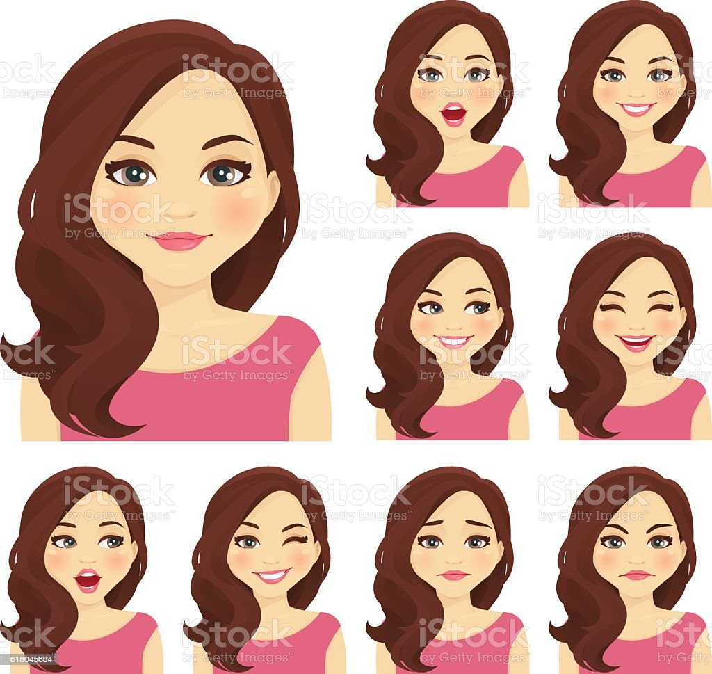 Woman expression set vector art illustration