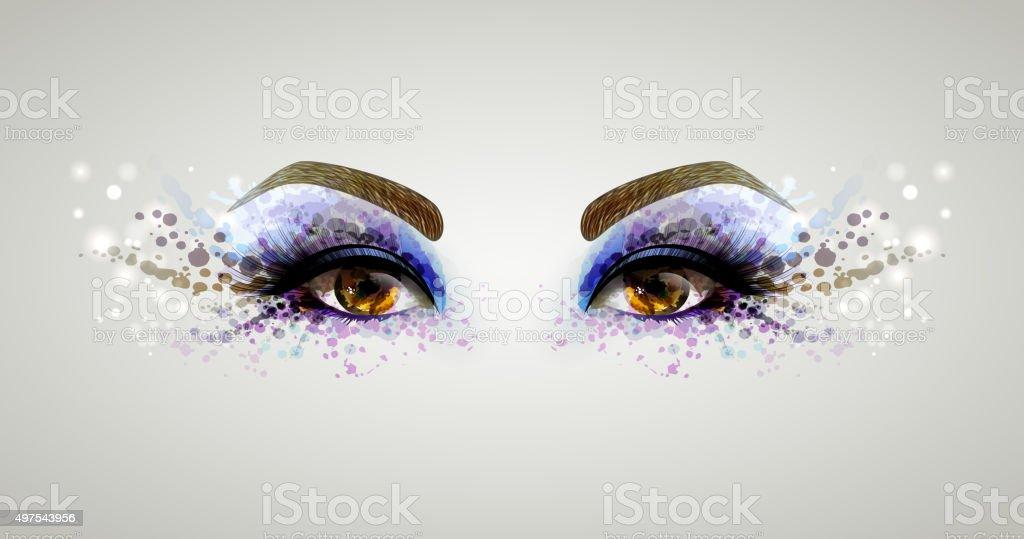 woman eyes vector art illustration