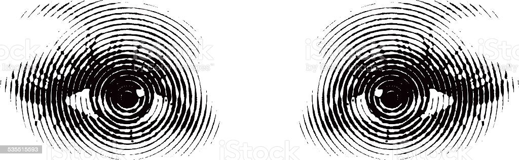 Woman Eyes with Concentric Circles vector art illustration