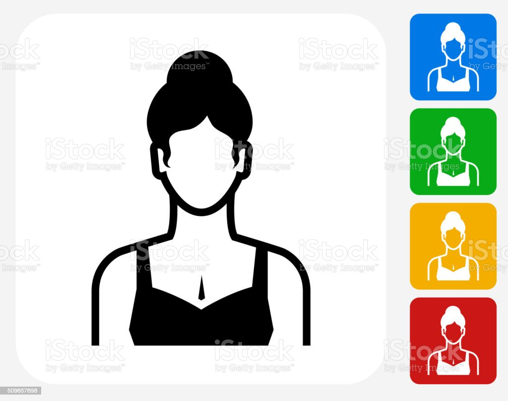 Woman Face Icon Flat Graphic Design vector art illustration