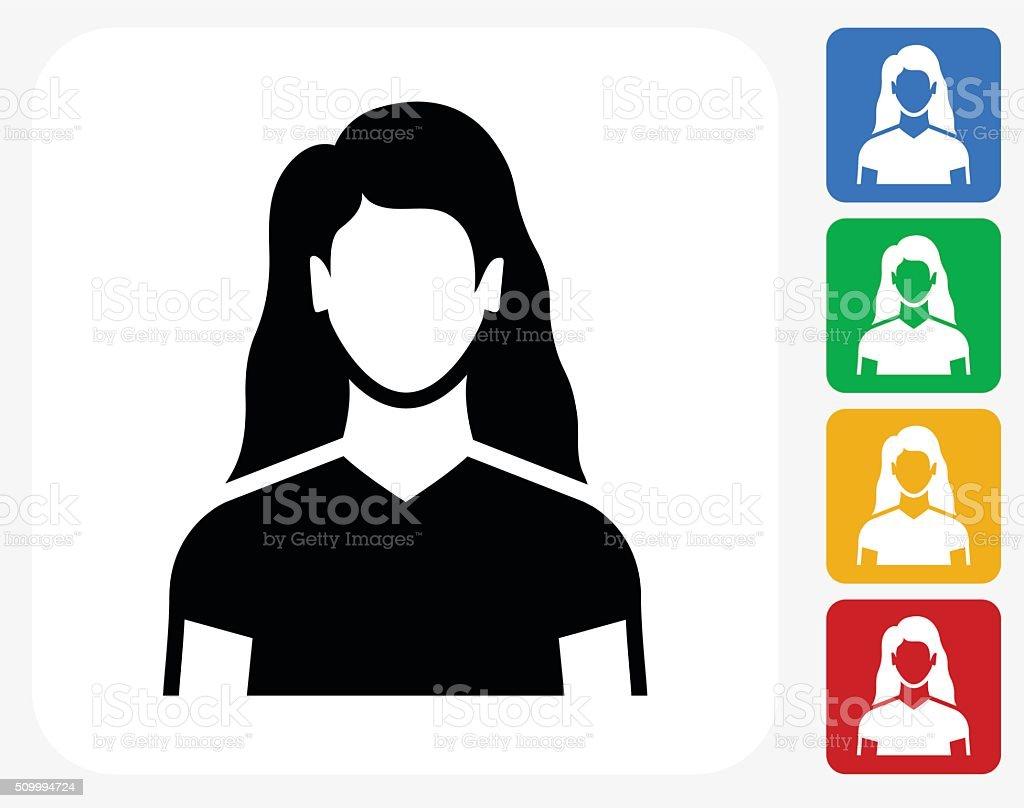 Woman Face Icon Flat Graphic Design vector art illustration