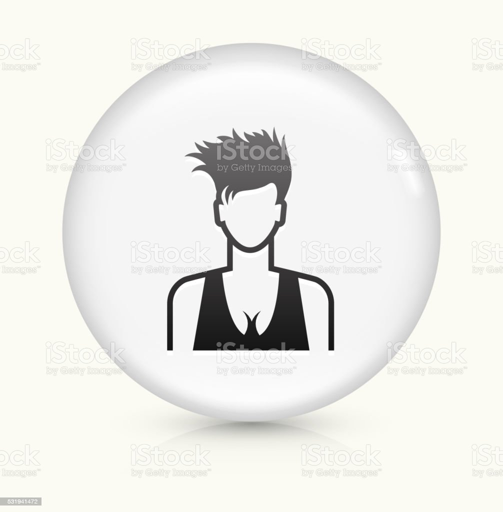 Woman Face icon on white round vector button vector art illustration