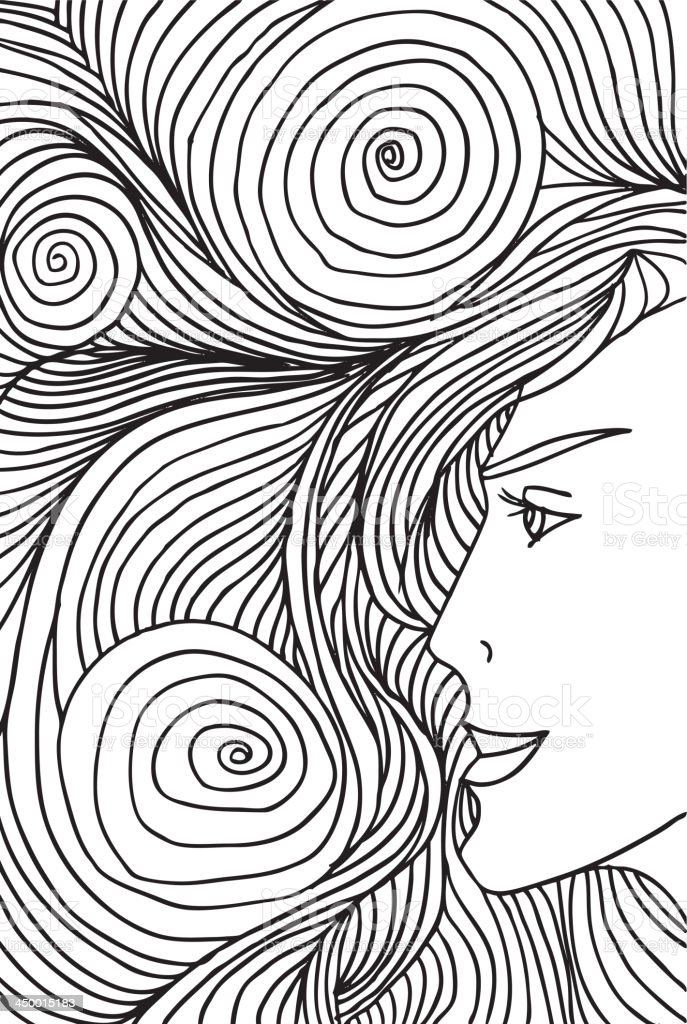 Woman face illustration royalty-free stock vector art
