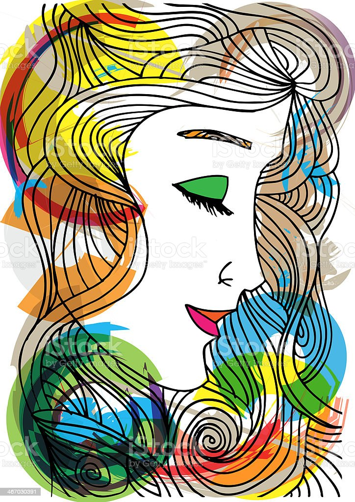Woman face illustration royalty-free stock vector art