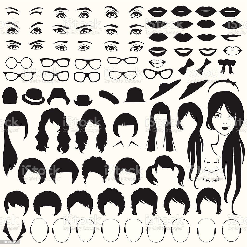 woman face parts vector art illustration