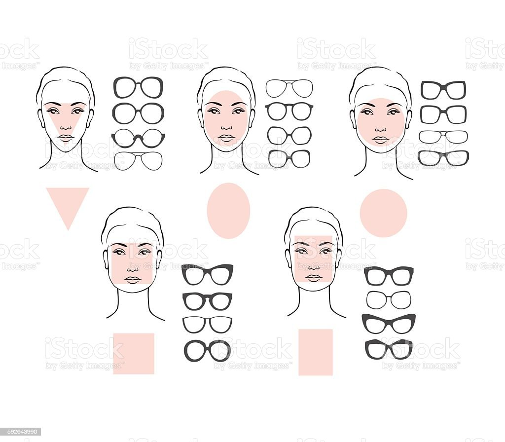 Woman face types and sunglasses vector art illustration