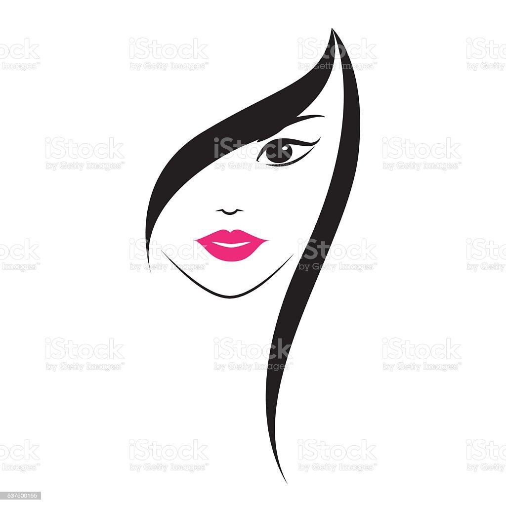 Woman face vector art illustration