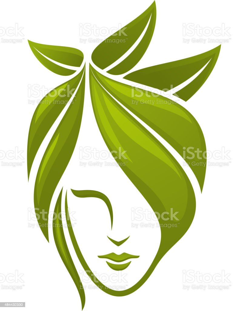 Woman face with green leaves vector art illustration