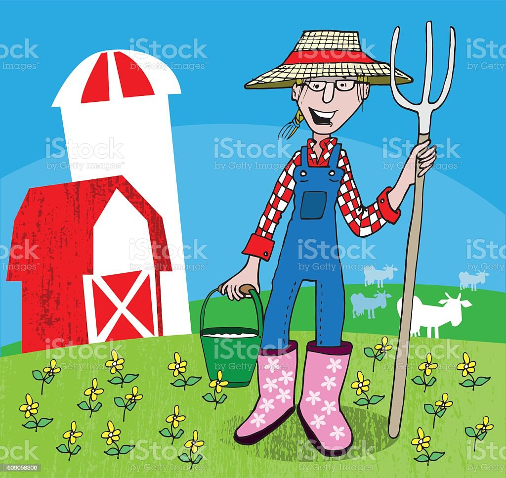 Woman Farmer vector art illustration