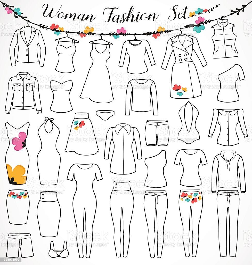 Woman Fashion Set. Clothes Silhouette with Floral Design Elements vector art illustration
