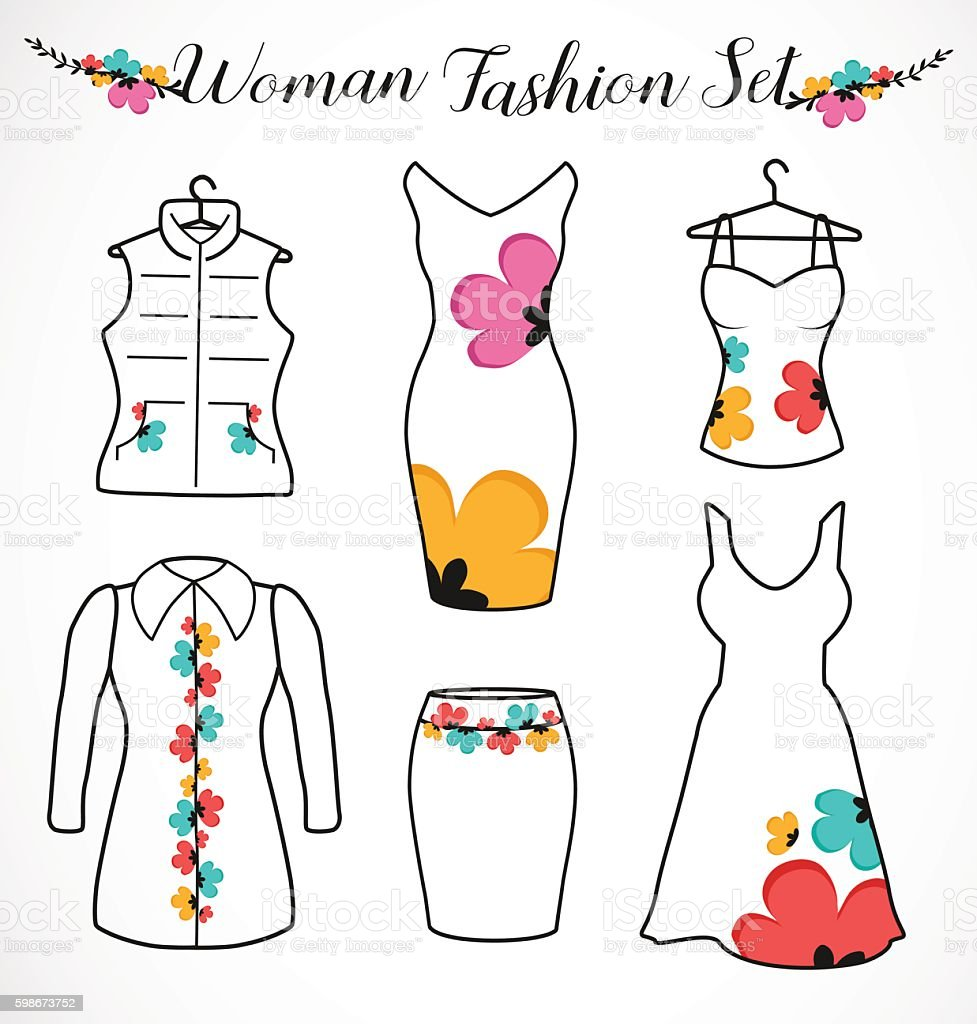 Woman Fashion Set. Clothes Silhouette with Floral Design Elements vector art illustration