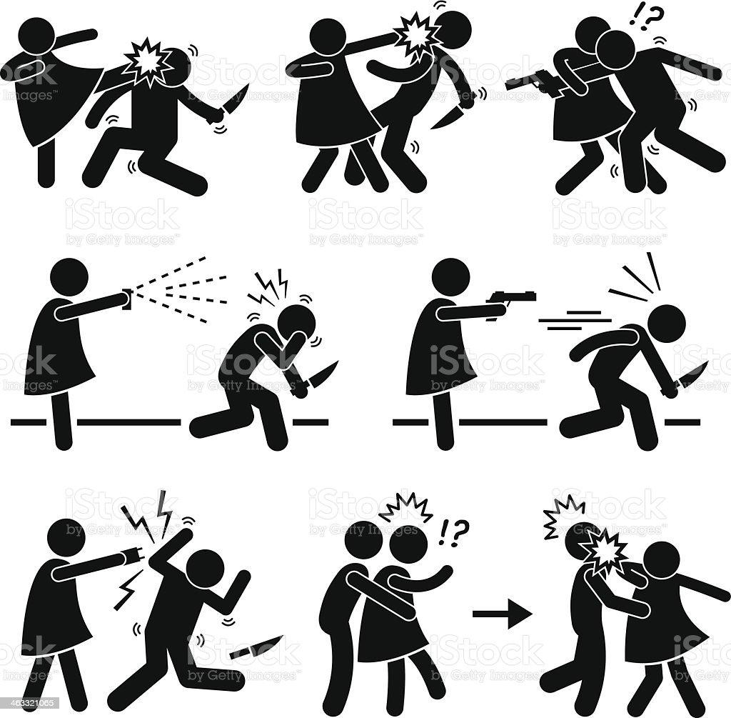 Woman Female Girl Self Defense vector art illustration