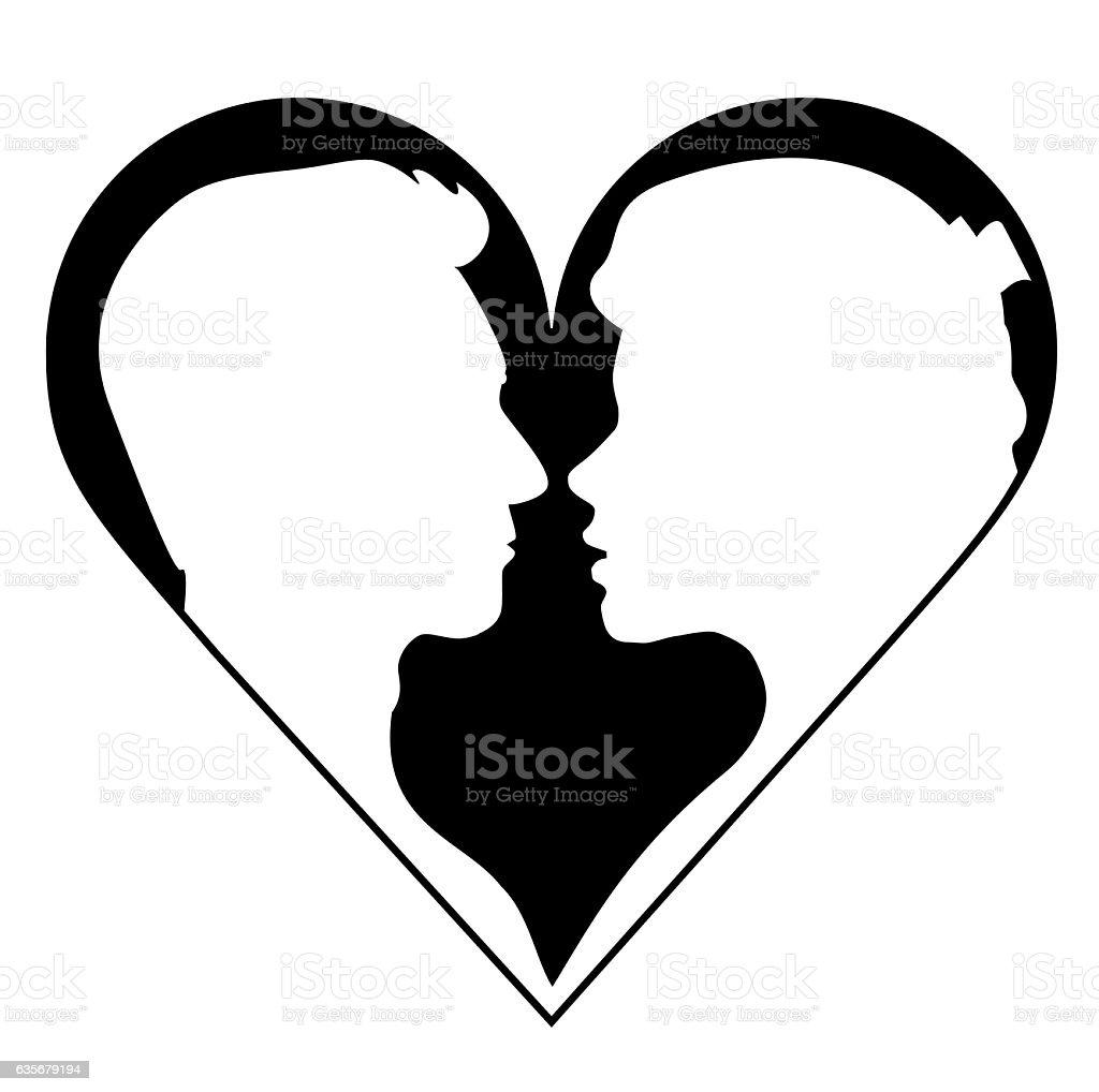 Woman female lady men male couple love silhouette vector illustration vector art illustration