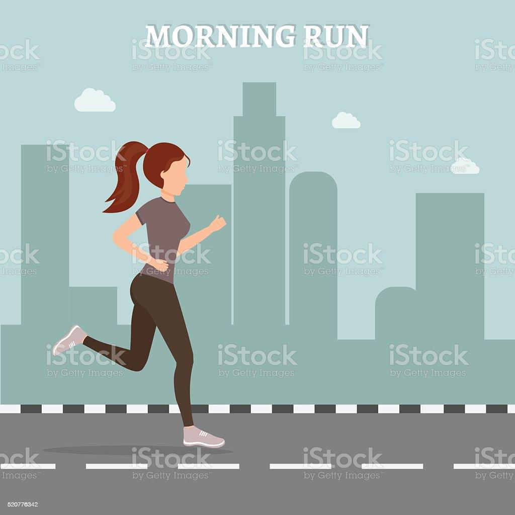 Woman fitness runing vector illustration vector art illustration