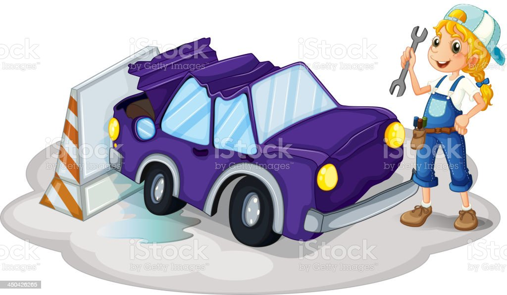 woman fixing the violet car royalty-free stock vector art
