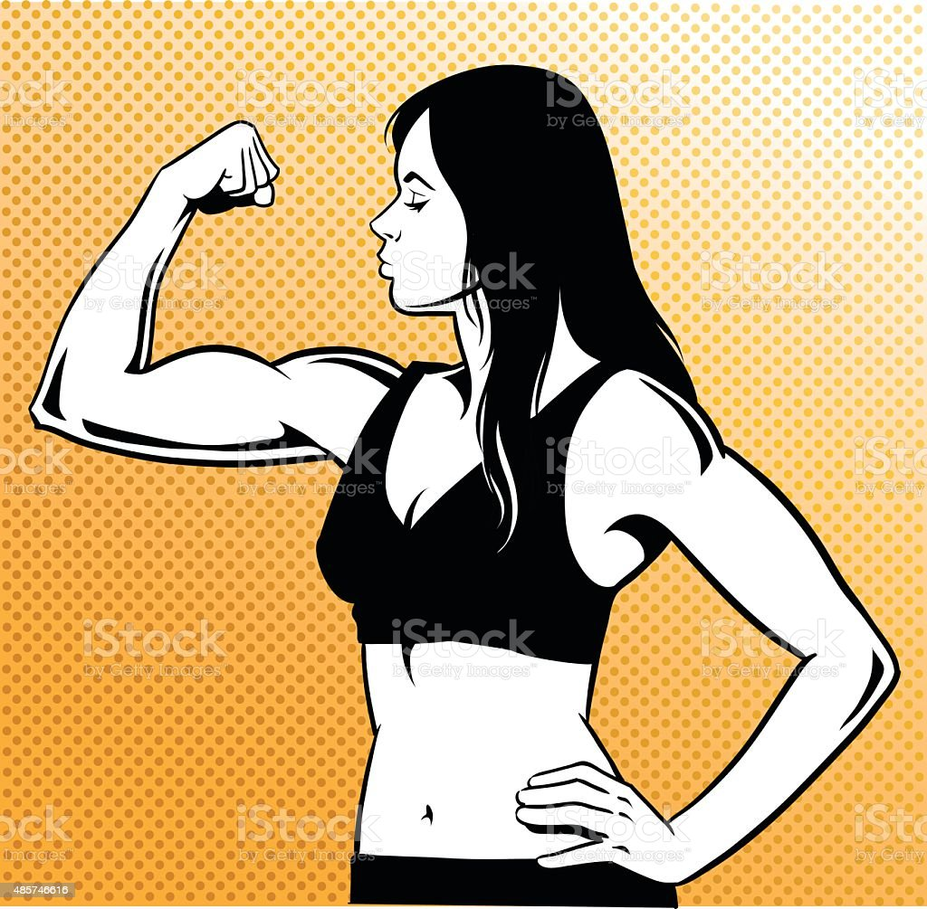 Woman Flexing her Muscles - Black and White vector art illustration