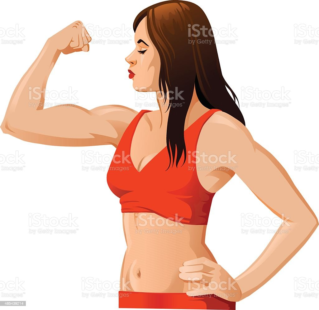 Woman Flexing Muscles vector art illustration