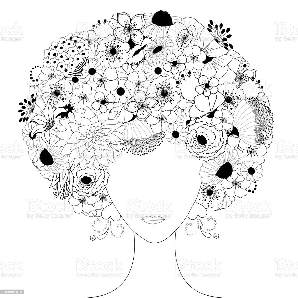 Woman floral silhouette vector art illustration