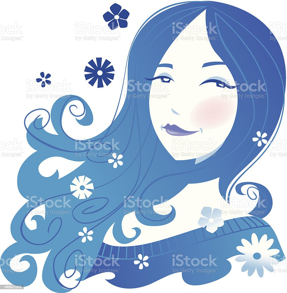 Woman Flowers C vector art illustration