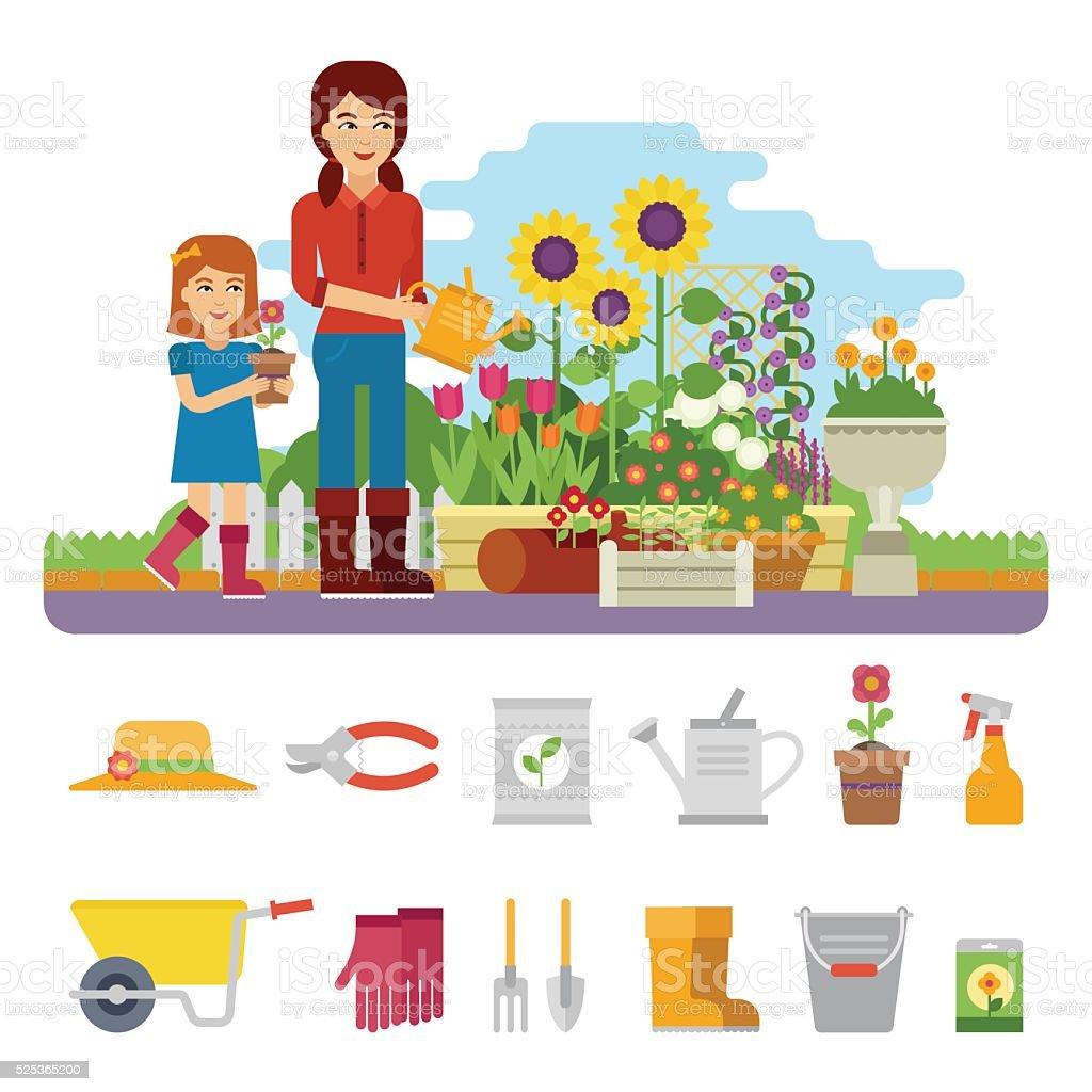 Woman gardener vector art illustration