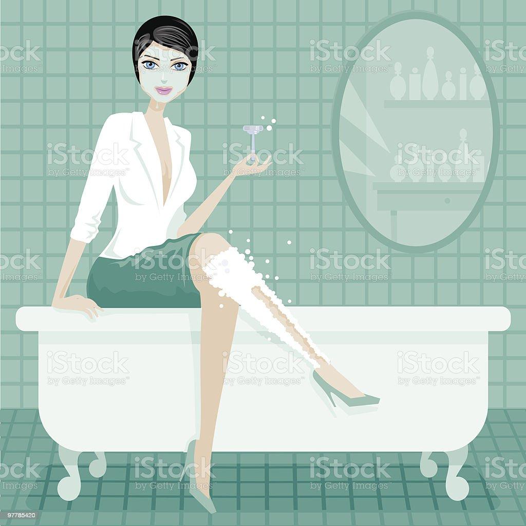 Woman Getting Ready vector art illustration