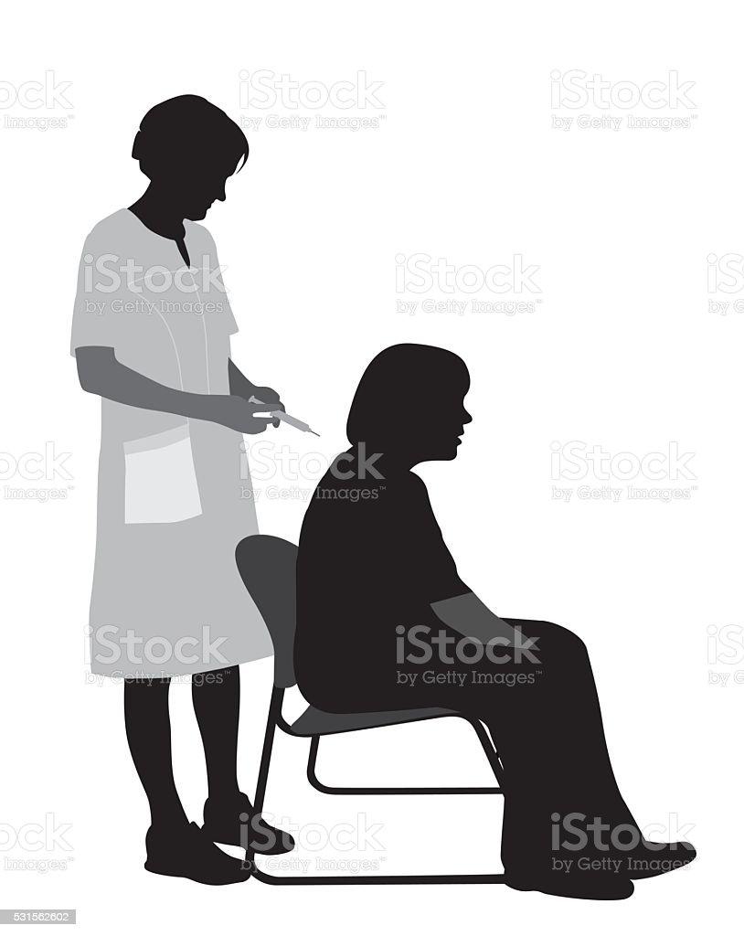 Woman Getting Vaccination vector art illustration